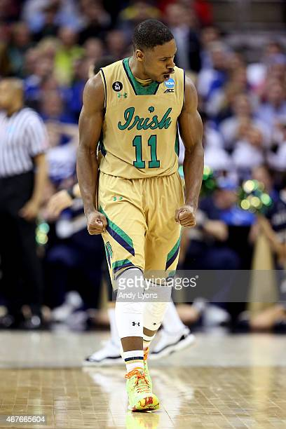 Demetrius Jackson of the Notre Dame Fighting Irish reacts after a play in the second half against the Wichita State Shockers during the Midwest...