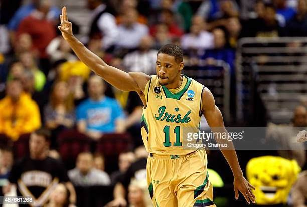 Demetrius Jackson of the Notre Dame Fighting Irish reacts after a three point basket in the first half against the Wichita State Shockers during the...