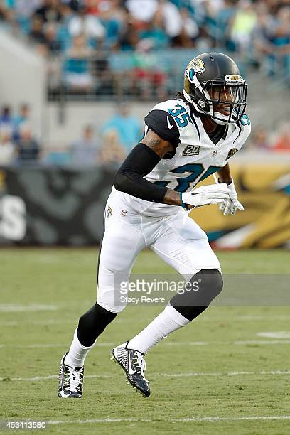Demetrius McCray of the Jacksonville Jaguars anticipates a play during a preseason game against the Tampa Bay Buccaneers at EverBank Field on August...