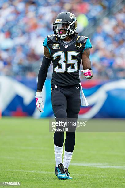 Demetrius McCray of the Jacksonville Jaguars at the line of scrimmage during a game against the Tennessee Titans at LP Field on October 12 2014 in...