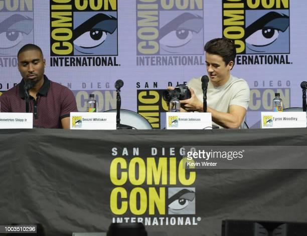 Demetrius Shipp Jr and Keean Johnson speak onstage at RZA Movies Music and Martial Arts during ComicCon International 2018 at San Diego Convention...