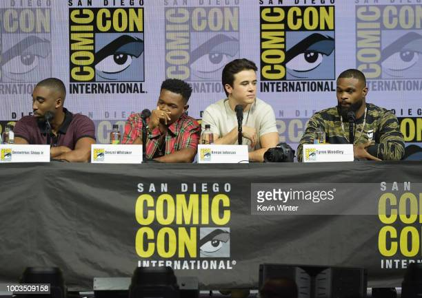 Demetrius Shipp Jr Denzel Whitaker Keean Johnson and Tyron Woodley speak onstage at RZA Movies Music and Martial Arts during ComicCon International...