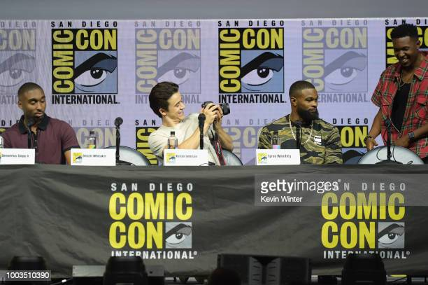 Demetrius Shipp Jr Keean Johnson Tyron Woodley and Denzel Whitaker speak onstage at RZA Movies Music and Martial Arts during ComicCon International...