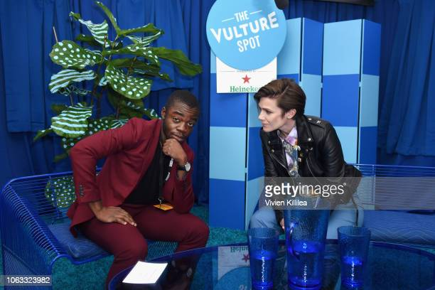 Demi Adejuyigbe and Cameron Esposito attend the Vulture Festival Presented By ATT at Hollywood Roosevelt Hotel on November 18 2018 in Hollywood...