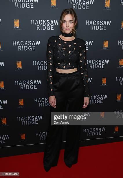 Demi Harman arrives ahead of the Australian premiere of Hacksaw Ridge at State Theatre on October 16 2016 in Sydney Australia