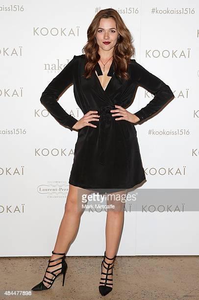 Demi Harman arrives ahead of the KOOKAI Spring/Summer 2016 runway show at Carriageworks on August 19 2015 in Sydney Australia