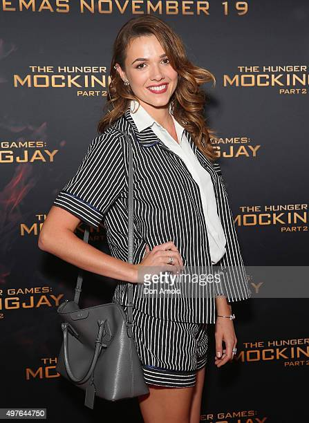 Demi Harman arrives ahead of the Sydney premiere of 'The Hunger Games Mockingjay Part 2' at Event Cinemas George Street on November 18 2015 in Sydney...