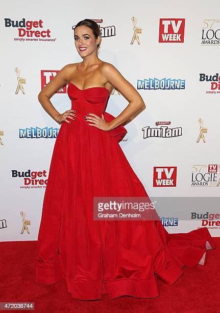 Demi Harman arrives at the 57th Annual Logie Awards at Crown Palladium on May 3 2015 in Melbourne Australia