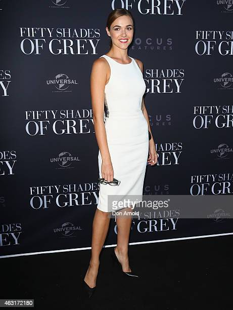 Demi Harman arrives at the Fifty Shades of Grey screening at the Entertainment Quarter on February 11 2015 in Sydney Australia