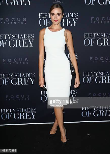 Demi Harman arrives at the 'Fifty Shades of Grey' screening at the Entertainment Quarter on February 11 2015 in Sydney Australia