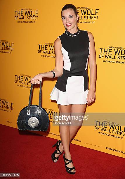 Demi Harman arrives at 'The Wolf Of Wall Street' Sydney Premiere at The Entertainment Quarter on January 13 2014 in Sydney Australia