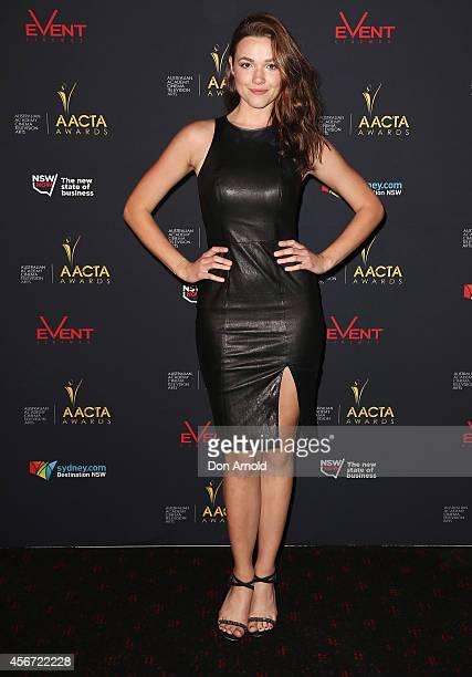 Demi Harman poses at the 4th ACCTA Awards opening night at Event Cinemas Bondi Junction on October 6 2014 in Sydney Australia
