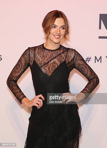 Demi Harman poses on the red carpet during the Myer Spring 16 Launch at Hordern Pavilion on August 23 2016 in Sydney Australia