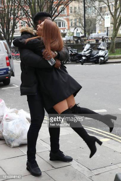 Demi Jones and Ched Uzor from Love Island 2020 seen arriving at Heat Radio Studios on March 04 2020 in London England