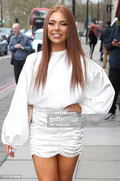 Demi Jones seen arriving for the TRIC Awards at Grosvenor House on March 10 2020 in London England