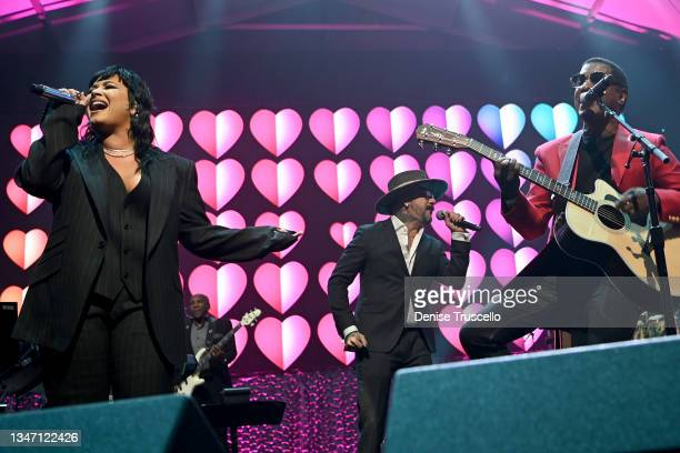 Demi Lovato, AJ McLean and Kenny 'Babyface' Edmonds perform onstage during the 25th annual Keep Memory Alive 'Power of Love Gala' benefit for the...