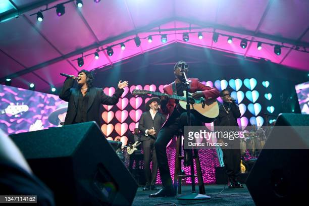 Demi Lovato, AJ McLean, Kenny 'Babyface' Edmonds and Shawn Stockman perform onstage during the 25th annual Keep Memory Alive 'Power of Love Gala'...