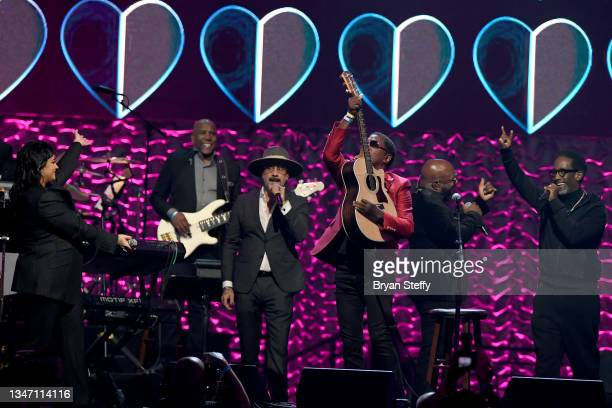 Demi Lovato, AJ McLean, Kenny 'Babyface' Edmonds, Wanya Morris and Shawn Stockman perform onstage during the 25th annual Keep Memory Alive 'Power of...