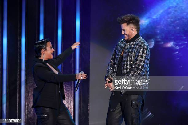 Demi Lovato and Adam Lambert perform onstage during Global Citizen Live on September 25, 2021 in Los Angeles, California.