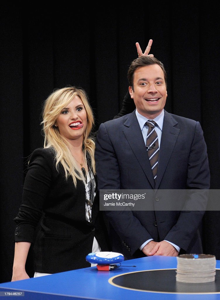 Demi Lovato and host Jimmy Fallon attend 'Late Night With Jimmy Fallon' at Rockefeller Center on September 3, 2013 in New York City.