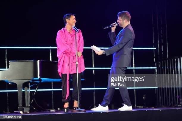 Demi Lovato and Michael D. Ratner, Director/Executive Producer OBB Pictures speak onstage during the OBB Premiere Event for YouTube Originals...