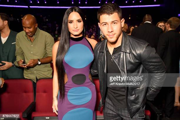 Demi Lovato and Nick Jonas at the 2017 American Music Awards at Microsoft Theater on November 19 2017 in Los Angeles California