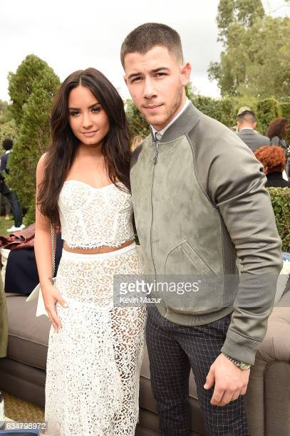 Demi Lovato and Nick Jonas attend 2017 Roc Nation PreGRAMMY brunch at Owlwood Estate on February 11 2017 in Los Angeles California
