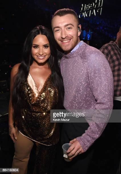 Demi Lovato and Sam Smith attend 102.7 KIIS FM's Jingle Ball 2017 presented by Capital One at The Forum on December 1, 2017 in Inglewood, California.