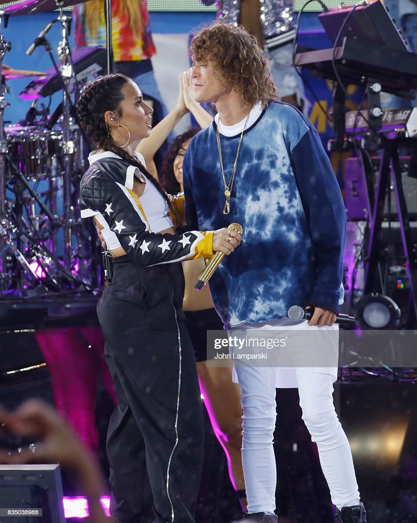 Demi Lovato and Trevor Dahl of Cheat Codes perform on ABC's 'Good Morning America' at Rumsey Playfield on August 18, 2017 in New York City.