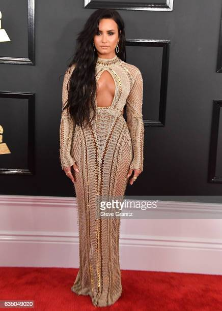 Demi Lovato arrives at the 59th GRAMMY Awards on February 12 2017 in Los Angeles California