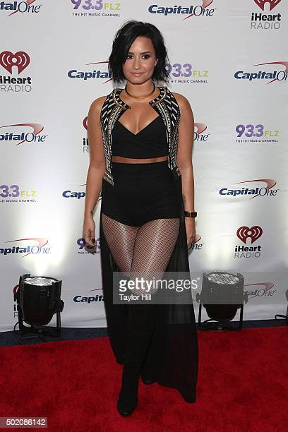 Demi Lovato attends 933 FLZ's 2015 Jingle Ball at Amalie Arena on December 19 2015 in Tampa Florida