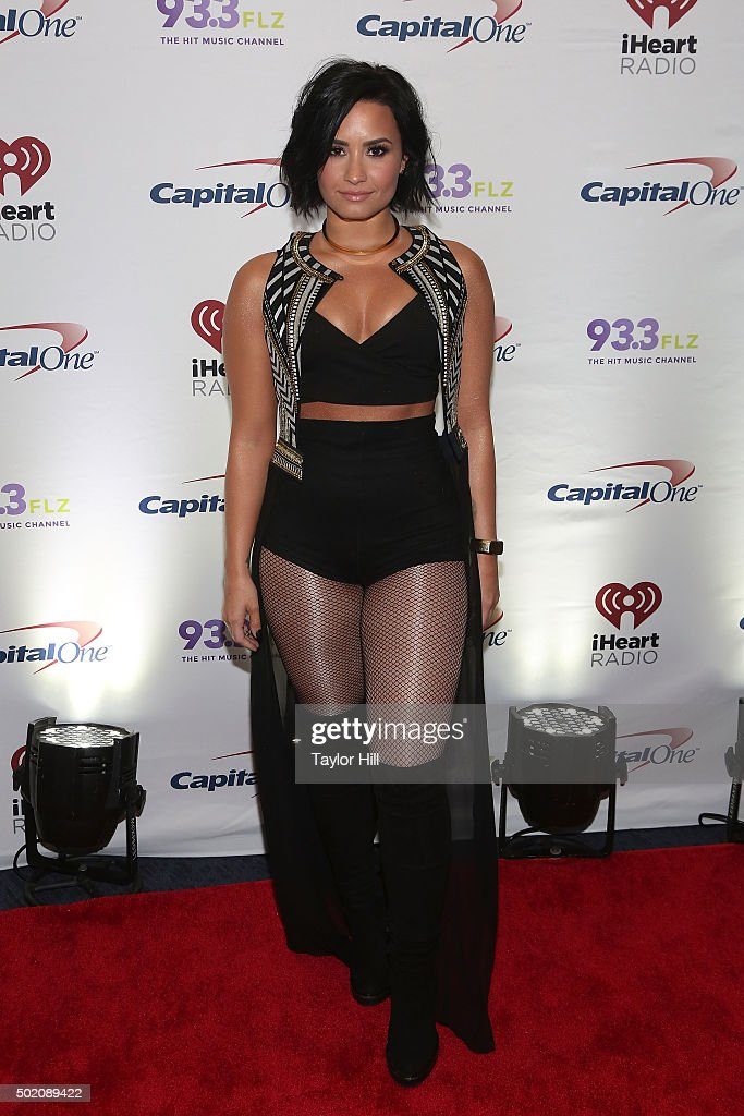 Demi Lovato attends 93.3 FLZ's 2015 Jingle Ball at Amalie Arena on December 19, 2015 in Tampa, Florida.