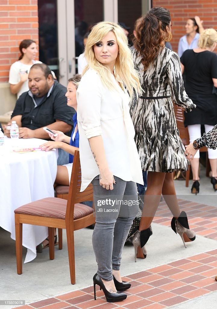 Demi Lovato attends Fox's 'The X Factor' Judges at Galen Center on July 11, 2013 in Los Angeles, California.