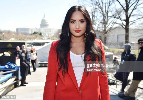 Demi Lovato attends March For Our Lives on March 24 2018 in Washington DC