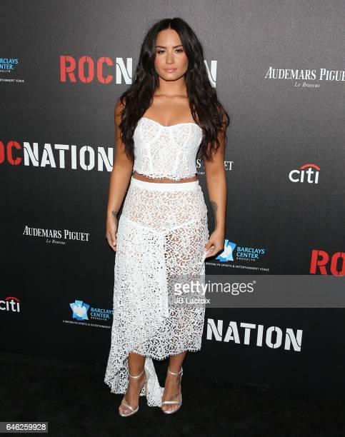Demi Lovato attends Roc Nation's PreGRAMMY Brunch on February 11 2017 in Los Angeles California
