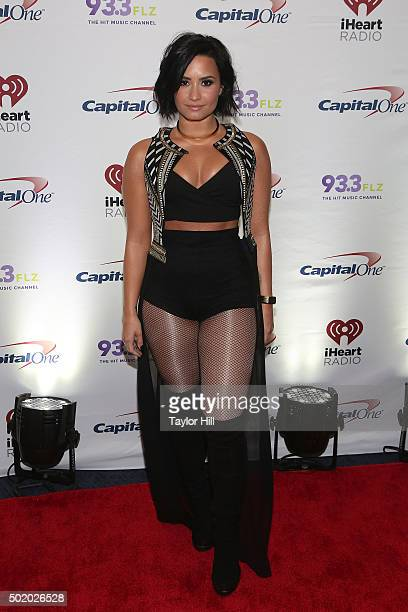 Demi Lovato attends the 2015 93.3 FLZ Jingle Ball at Amalie Arena on December 19, 2015 in Tampa, Florida.