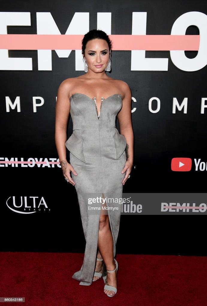 Demi Lovato attends the 'Demi Lovato: Simply Complicated' YouTube premiere at The Fonda Theatre on October 11, 2017 in Los Angeles, California.