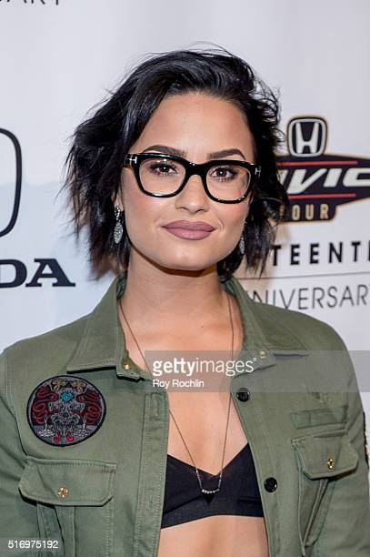 Demi Lovato attends the Honda Civic Tour Artists Announcement and Honda Civic North America Launch Event at the Garage on March 22 2016 in New York...