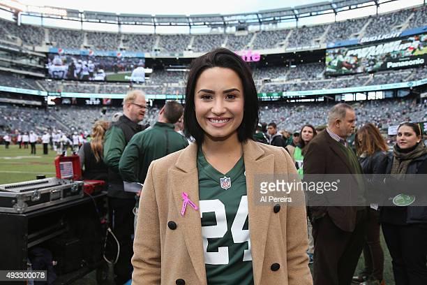 3fbdb89c925 Demi Lovato attends the New York Jets vs Washington Redskins game at  MetLife Stadium on October