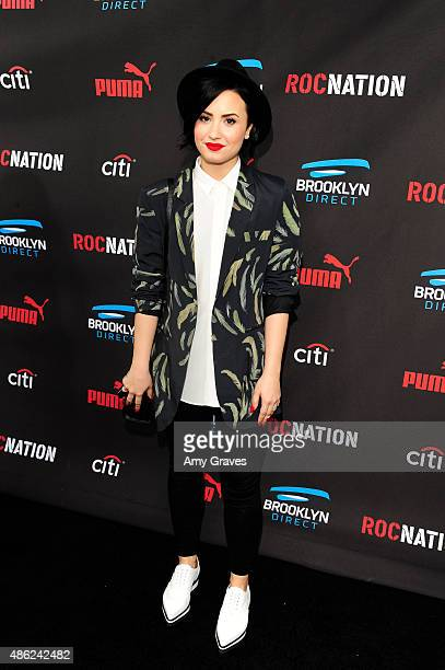 Demi Lovato attends the Roc Nation Grammy Brunch 2015 on February 7 2015 in Beverly Hills California