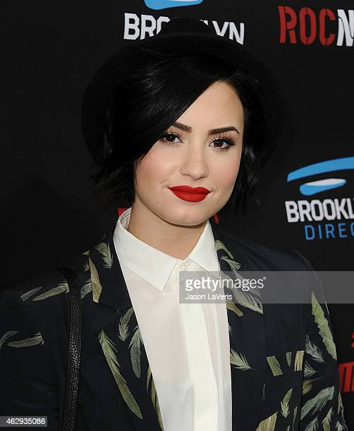 Demi Lovato attends the Roc Nation Grammy brunch on February 7 2015 in Beverly Hills California