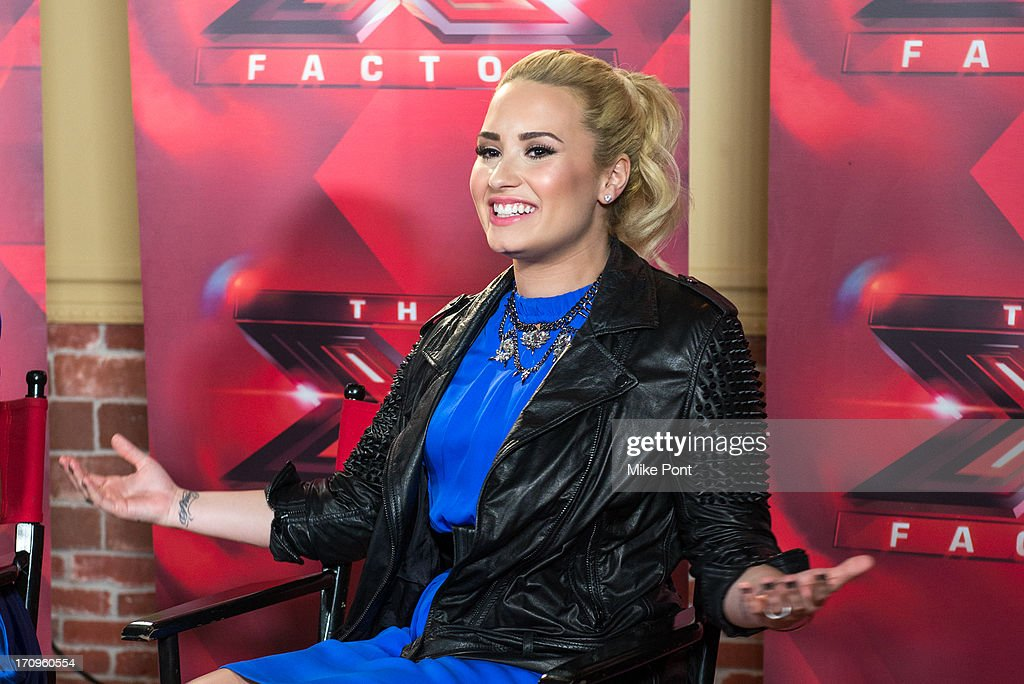 Demi Lovato attends 'The X Factor' Judges press conference at Nassau Veterans Memorial Coliseum on June 20, 2013 in Uniondale, New York.