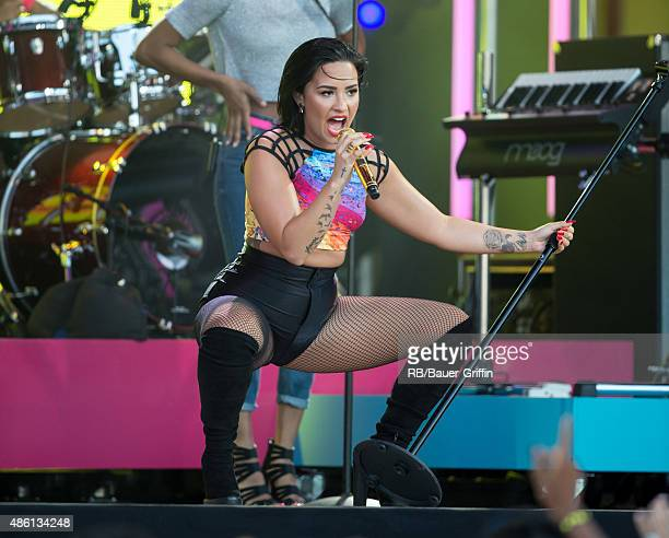 Demi Lovato is seen at 'Jimmy Kimmel Live' on August 31 2015 in Los Angeles California