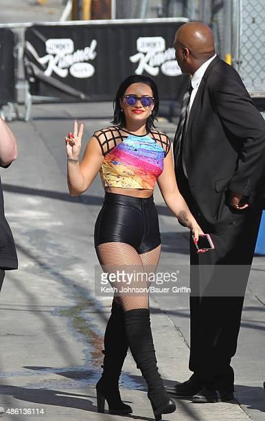 Demi Lovato is seen attending Jimmy Kimmel Live TV Show on August 31 2015 in Los Angeles California