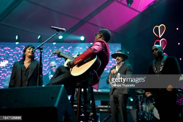 Demi Lovato, Kenny 'Babyface' Edmonds, AJ McLean and Wanya Morrisn perform onstage during the 25th annual Keep Memory Alive 'Power of Love Gala'...