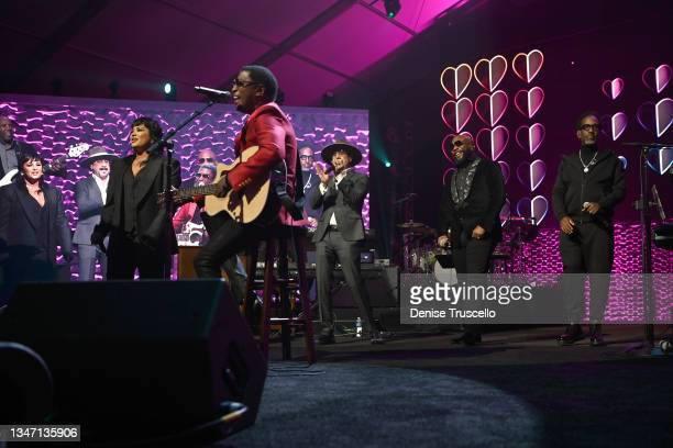 Demi Lovato, Kenny 'Babyface' Edmonds, AJ McLean, Wanya Morris and Shawn Stockman perform onstage during the 25th annual Keep Memory Alive 'Power of...