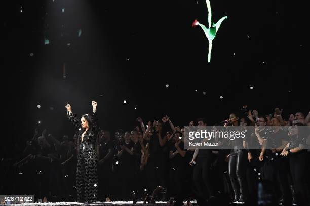 Demi Lovato performs during 'Tell Me You Love Me' World Tour at The Forum on March 2 2018 in Inglewood California