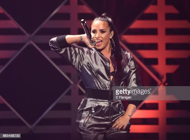 Demi Lovato performs during the 2017 WiLD 949 FM iHeartRadio Jingle Ball at SAP Center on November 30 2017 in San Jose California