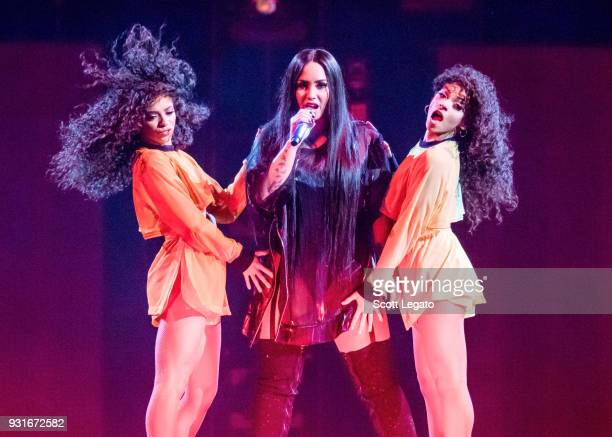 Demi Lovato performs in support of her Tell Me You Love Me Tour at Little Caesars Arena on March 13 2018 in Detroit Michigan