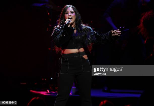 Demi Lovato performs live exclusively for American Airlines AAdvantage Mastercard cardmembers at New York City Center on January 24 2018 in New York...